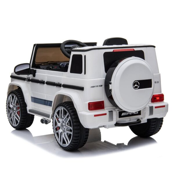 white 12v kids electric ride on car mercedes g63 amg remote control