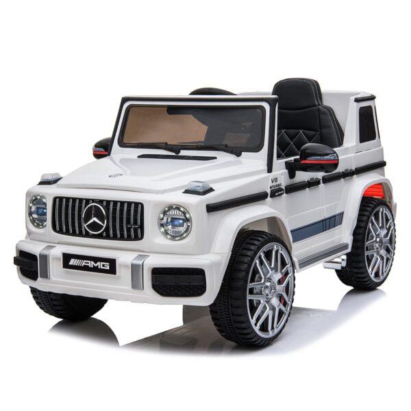 white 12v kids electric ride on car mercedes g63 amg led lights
