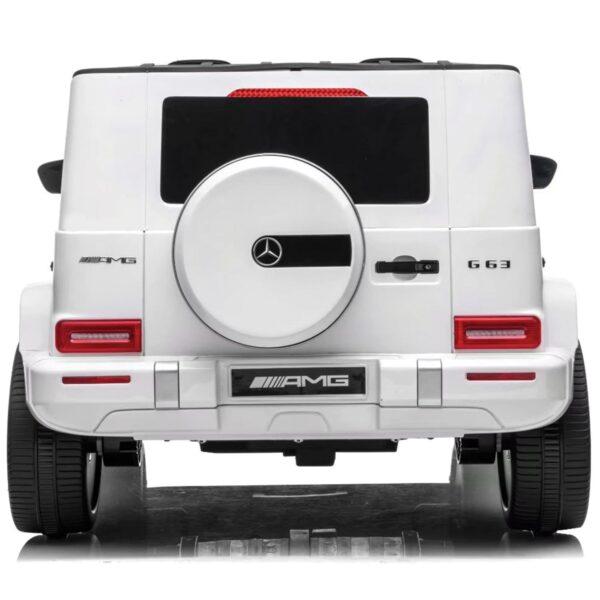 back white kids car mercedes g63 2 seater